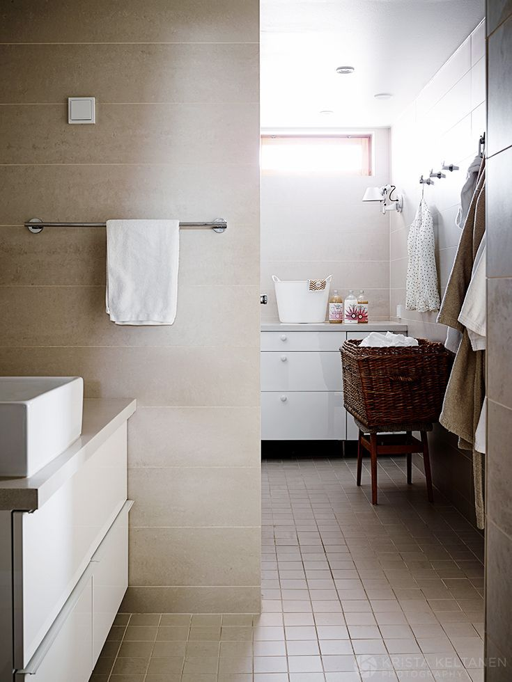My bathroom with laundry corner Photo:Krista Keltanen http://www.gloria.fi/blogit/mrs_jones/my_work_sisustussuunnittelija_anne_marie_reinikan_kotona