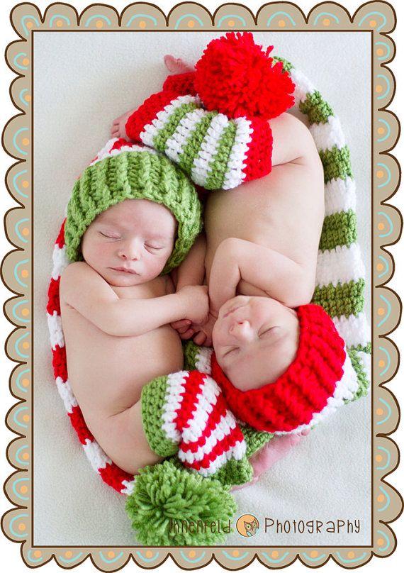 Twin Newborn Crochet Christmas Stocking Hats and Leg Warmers Set on Etsy, $60.00