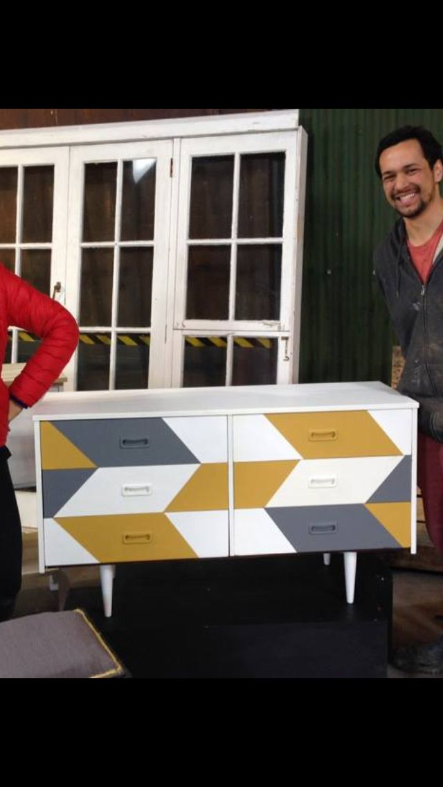 Up cycling drawers - geometric paint job
