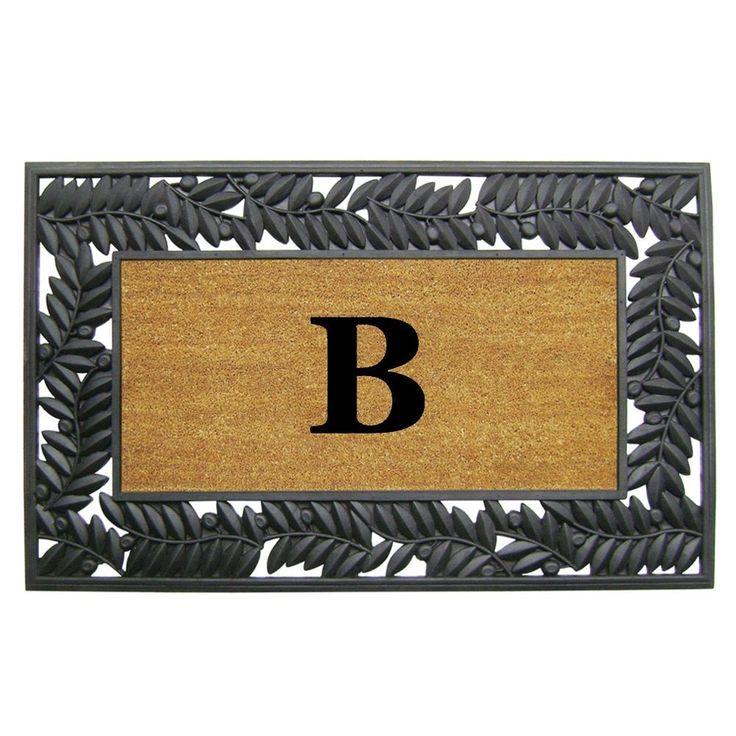 "Enterprises Olive Border Monogrammed Rubber Coir Mat (30"" x 48"") (Monogrammed"