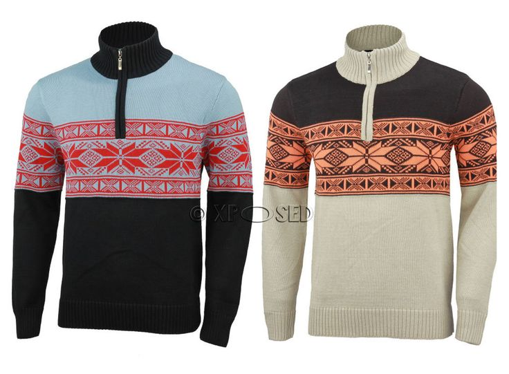 Mens Multi Colour Funnel Neck Half Zip Neck Jumper Long Sleeve Knitted Sweater