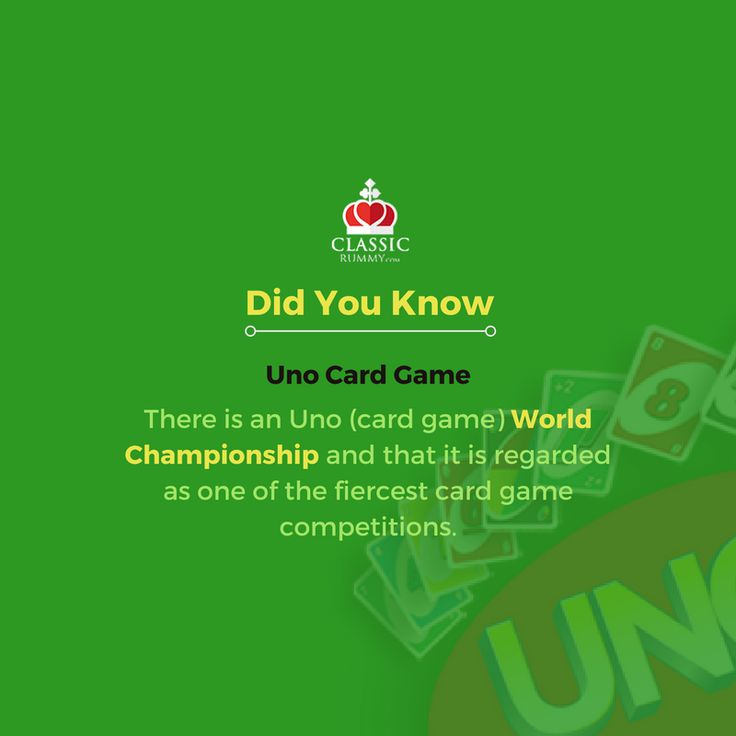 There is an Uno (card game) World Championship and that it is regarded as one of the fiercest card game competitions.  #card #games #todayilearned #didyouknow #facts