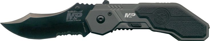 """Smith & Wesson SWMP1BS Military and Police Knife with MAGIC Assisted Open and Scooped Back Serrated Blade, Black. Quality tested and ensured for maximum durability. Designed with only the toughest, roughest users in mind. Comfort and Performance come hand in hand with Rothco. 2.9"""" blade, 4.2"""" handle. 4034 Stainless Steel. Spring assisted opening. Integrated glass breaker. 4.1 ounces Military and Police Knife."""