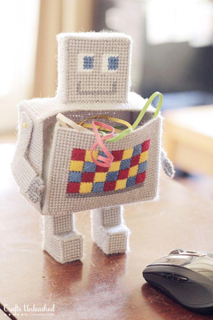 Robot craft desk organizer- Crafts Unleashed