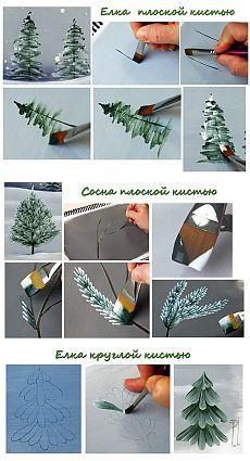 Нарисуйте зимние деревья вместе с детьми!