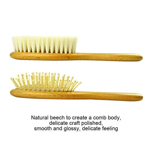 Baby Brush,ASDOMO Wooden Baby Hair Brush Set with comb and Ultra Soft Silicone Scalp Shampoo Brush for Newborns and Toddlers - Natural Goat Bristles for Cradle Cap - Perfect for Baby - 2pcs
