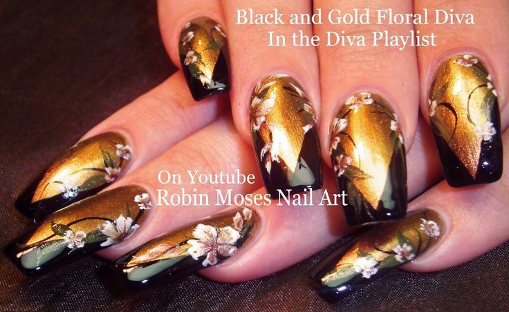 Nail Art | Gold and Black Flower Diva Nails | Fall Nail Design Tutorial