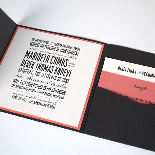 I love the folded envelope invites, and the pocket is a cute touch. Planning to have RSVP's on the wedding website, not by mail, but could still do a separate card with RSVP instructions.