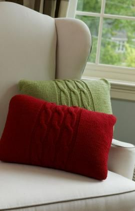 """FREE PTRN DOWNLOAD: EASY KNIT. 'Cabled Pillows' #LW3694. RED HEART® With Love®: 1 skein 1601 Lettuce or 1914 Berry Red. SIZE: 12"""" x 18"""" [30 cm x 46 cm]"""