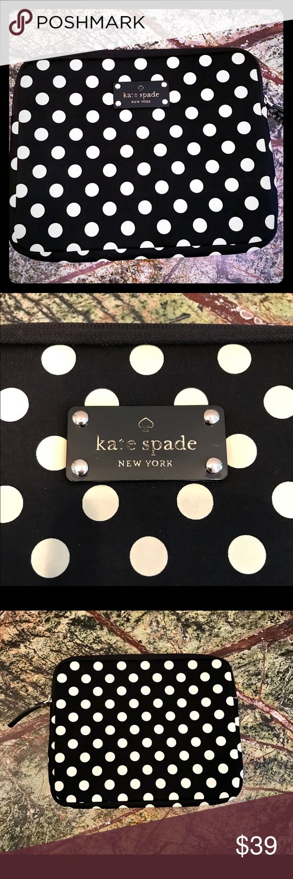 Adorable Kate Spade iPad Case Purchased for my iPad mini but it's for a full size iPad. Like new other than the Kate Spade Logo being slightly worn, otherwise not a spot on it. Open to reasonable offers! Bundle and save on shipping! kate spade Accessories Tablet Cases