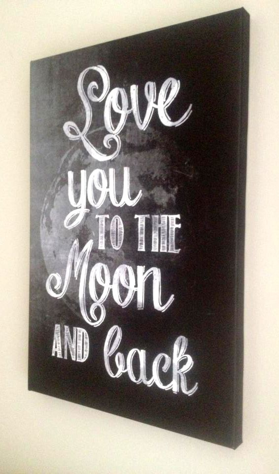 Love you to the moon and back on canvas! For more great prints check out my fb page - https://www.facebook.com/offthebusdesigns