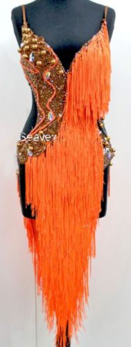 U4966 Ballroom women salsa samba Latin samba dance Fringing dress Custom made