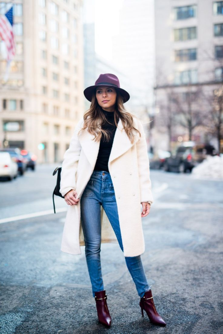 50 fall + winter 2016 outfit ideas to steal from street style stars | Fashion & style trends | white coat, skinny jeans, + oxblood ankle boots