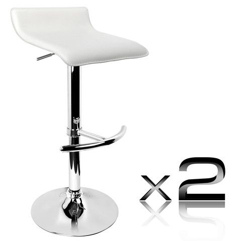 Set of 2 PVC Leather Kitchen Bar Stool White - Signum Deals - Australia's Bargain Warehouse - 1