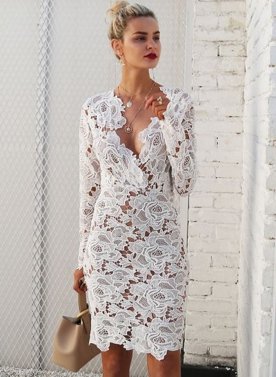 310060a6fe2 Fashion V Neck Long Sleeve Lace Bodycon Midi Dress novashe.com