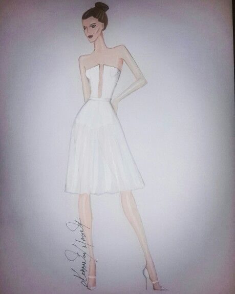 White dress fashion illustration by circadots