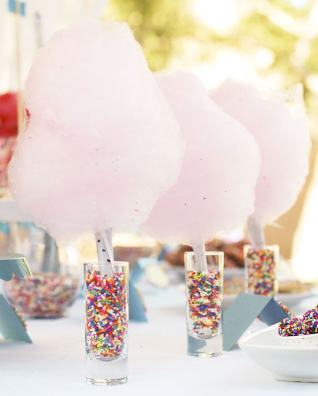 Use cotton candy and sprinkles to make this magical party setting.