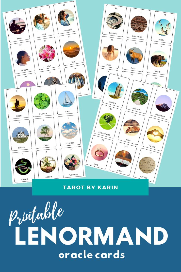 Printable Lenormand Oracle Cards Instant Digital