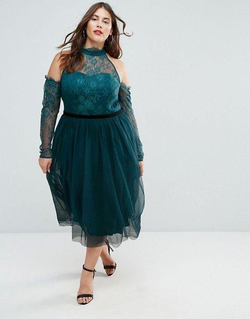 005f9bb2d5d1 ASOS Curve   ASOS CURVE PREMIUM Tulle Cold Shoulder Midi Prom Dress Plus  Size Party Dresses