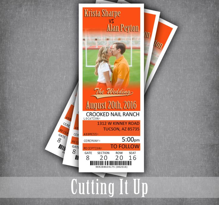 Pin now for Future Football Wedding, Football Wedding Invitations, Sport Wedding Invitations, Football Ticket, Football Ticket Invitation, Softball, Baseball, Denver Broncos, OSU, Oklahoma State, NFL, NCAA, Handmade by CuttingItUp - pinned by pin4etsy.com