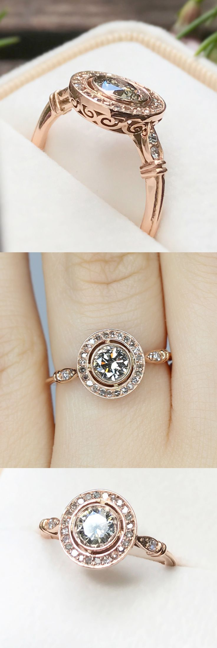 Inspired by elements of Art Deco, Georgian, and Edwardian design, this ring blends antique and contemporary elements together perfectly to create a clean, regal, and glamorous look.