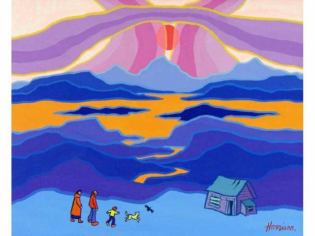 "Ted Harrison, ""Evening Lake"""