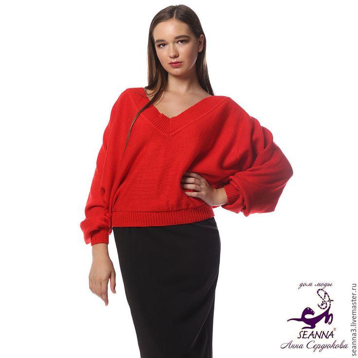 """Купить Джемпер """"Летучая мышь Рубиновая шерсть с шелком все цвета, размеры - шелковый свитер"""