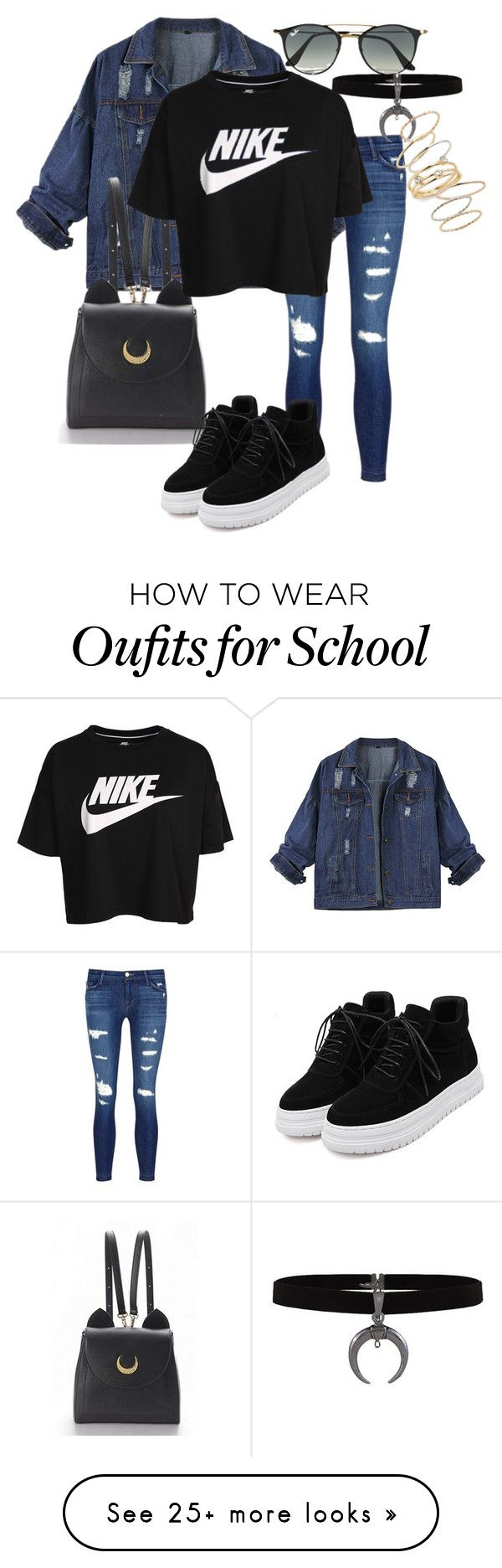 nike shoes 1. Cool for School by srybuttnotsry on Polyvore featuring J Brand, WithChic, NIKE, Ray-Ban and BP.