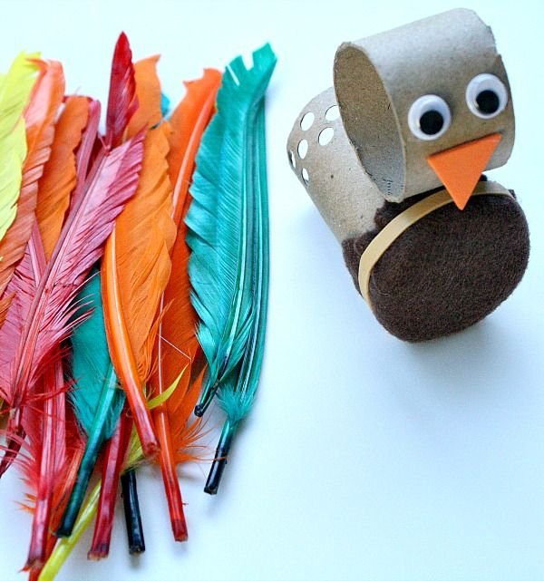 Cute turkey from toilet paper roll (bonus: fine motor skill practice too!)