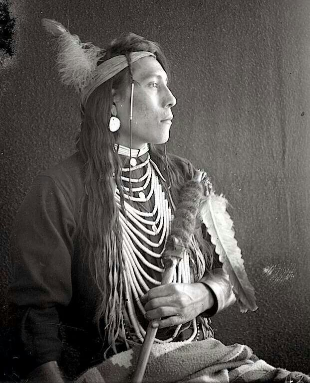 White Swan , Crow. (Antique photo of Native American)