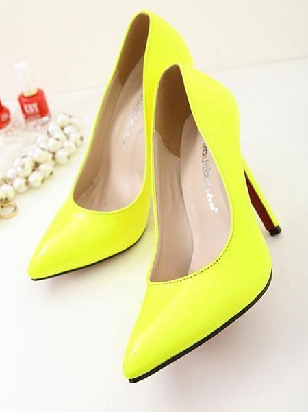 Pointed Toe Neon High Heel Shoes