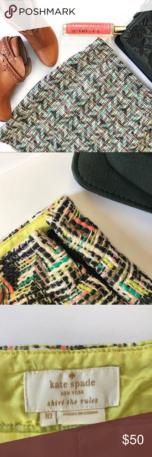 "Kate Spade | Summer Tweed Harper Skirt Tweed skirt Cut to a slight A-line  Multicolored  Lined  Side zip closure  Slight stain on lining  100% cotton Hip 32"" Waist 38"" Length 17"" kate spade Skirts Mini"