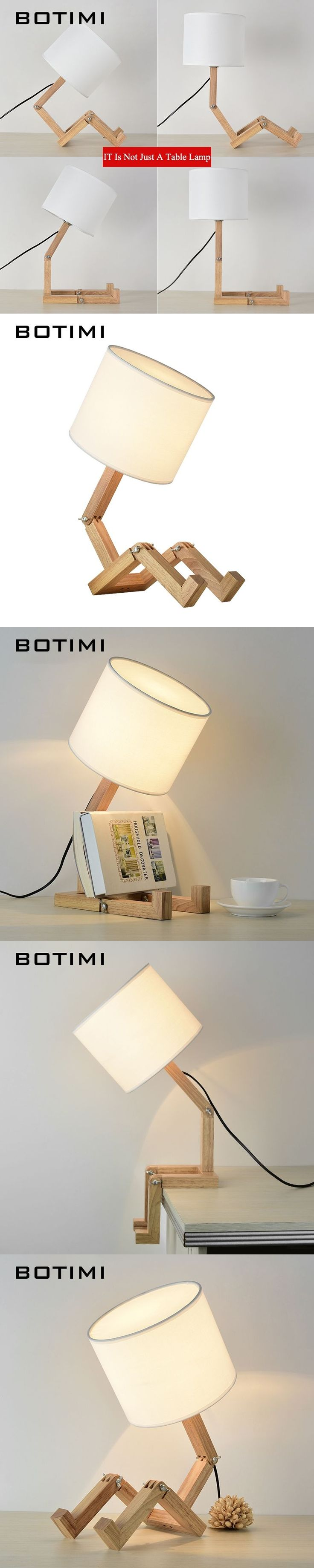 BOTIMI European Style Table Lamp Wooden Bedside with Fabric Lampshade lamparas de mesa Desk Light Deco Luminaria For Living Room