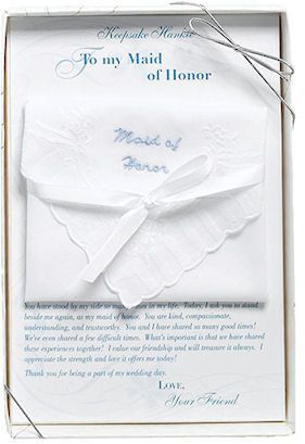 "This 12"" white cotton hankie is embroidered with ""Maid of Honor"" in blue. The box liner is titled ""Keepsake Hankie To my Maid of Honor."" The bottom says ""You have stood by my side so many times in my"