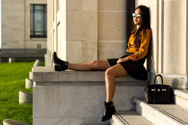 Brown Suede Shirt+Leather Skirt+Leather Boots