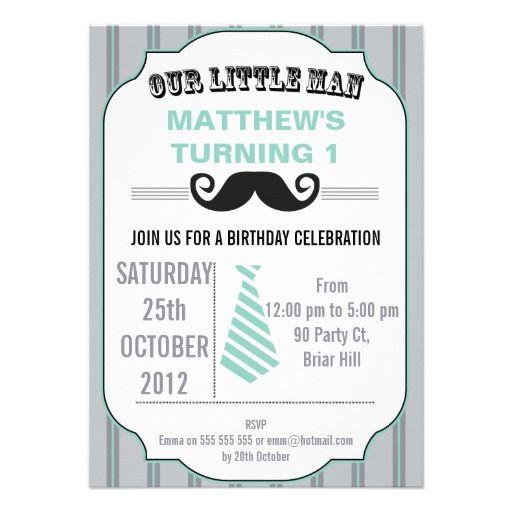 Boys Mustache Birthday Party Invitation