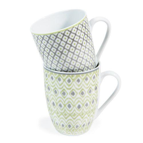Maisons du monde - 6 mugs en porcelaine verts et gris BAMBOU