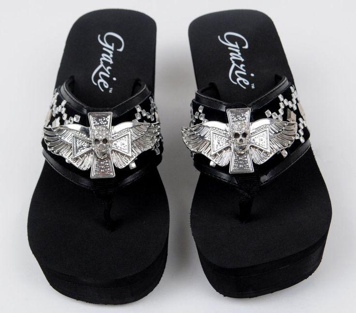 details about grazie flip flop wedge shoes black winged