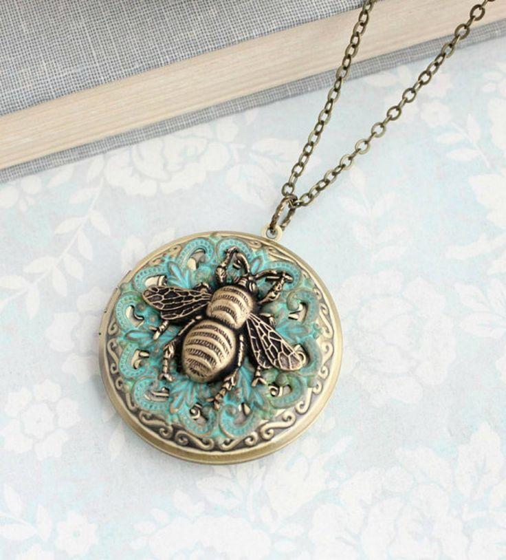 Honey Bee Necklace, Antique Brass Large Round Photo Locket Pendant Keepsake Vintage Style Victorian Verdigris Patina Lace Filigree Bumblebee #ad #Etsy