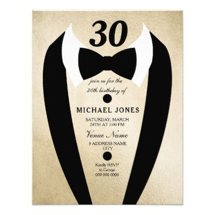 Gold Tuxedo Bow Tie Mens 30th Birthday Invite