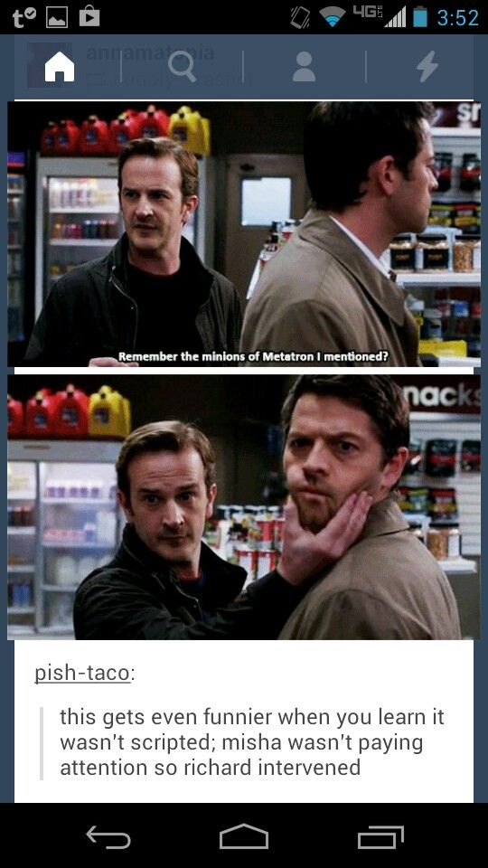 Yet another fantastic SPN moment that wasn't scripted. Misha wan't paying attention, so Richard intervened