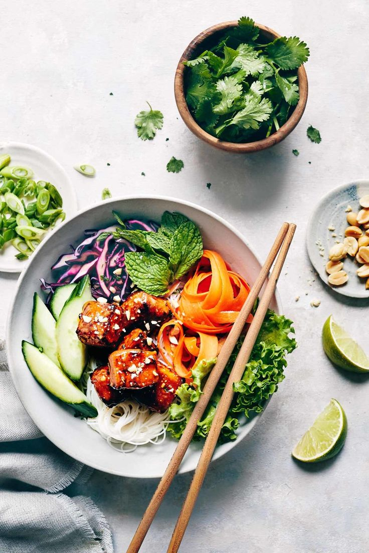 Vegan Spring Roll Salad with Peanut Glazed Tofu
