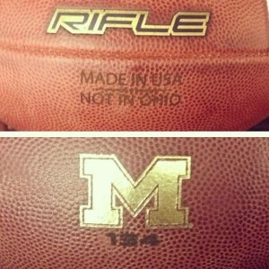 "University of Michigan Footballs created for fun-notice the ""Not in Ohio"" wording.  LOL"