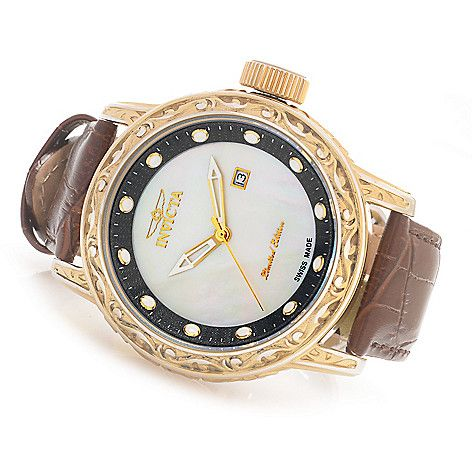 Invicta 52mm Excalibur Limited Edition Swiss Made Quartz Leather Strap Watch w/ Eight-Slot Dive Case ShopHQ.com