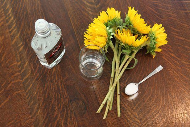De bloemen blijven langer goed als je er wat wodka met suiker bij doet