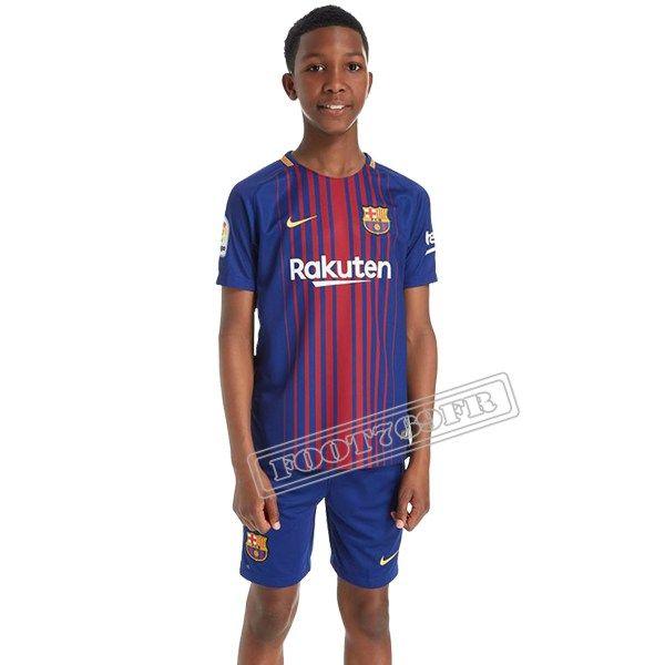 Les Plus Beau Flocage Maillot De FC Barcelone Enfant Bleu/Rouge Personnalise 2017 2018 Domicile Nouveau