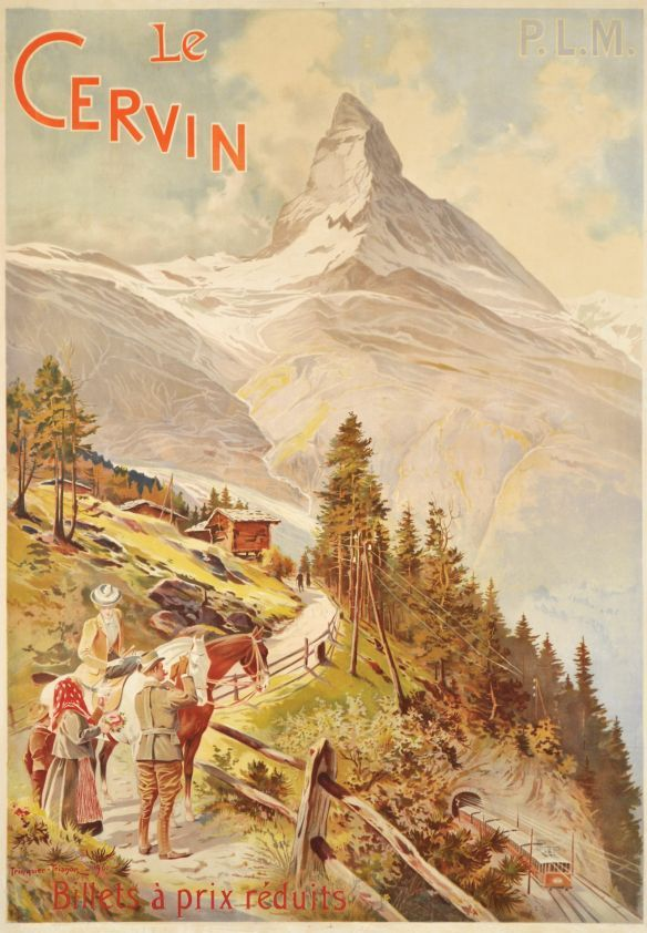 "Le Cervin, PLM billets à prix réduits  (by Trinquier-trianon Louis / 1900) Fine turn of the century poster for ""le Cervin"" the Matterhon mountain over Zermatt in Switzerland. A rare poster for the PLM railway company (Paris-Lyon-Mediterranée). Printed in stone-lithography. A Zermatt master piece."