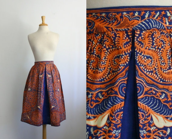 1970s cobalt blue and orange batik skirt