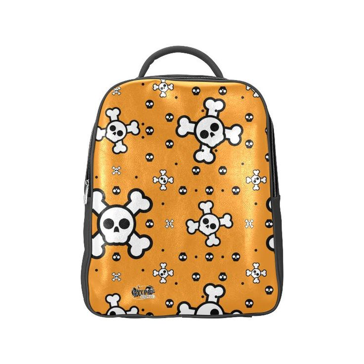 Emo Skulls Orange Backpack (Model1622)