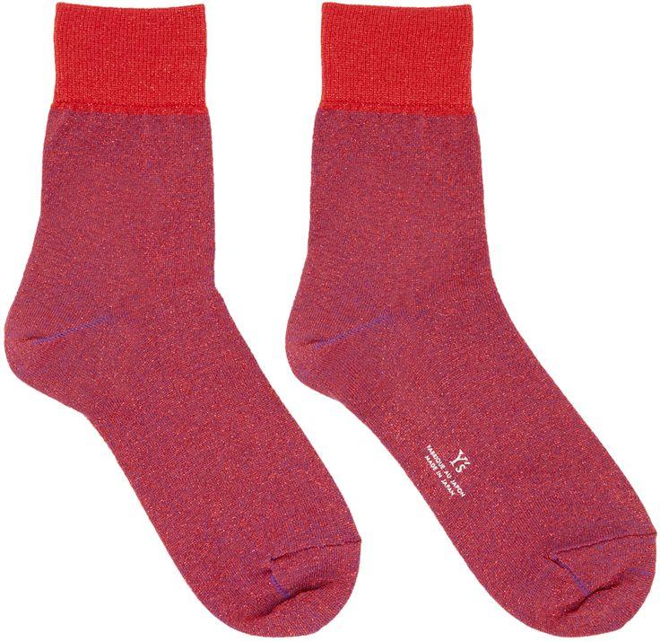 Y's: Chaussettes rouge métalliques | SSENSE